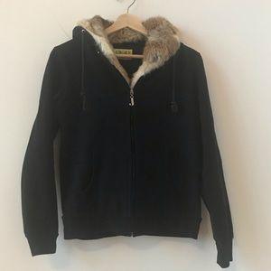 Juicy Couture fur lined black hoodie